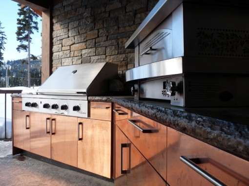 outdoor kitchen in copper